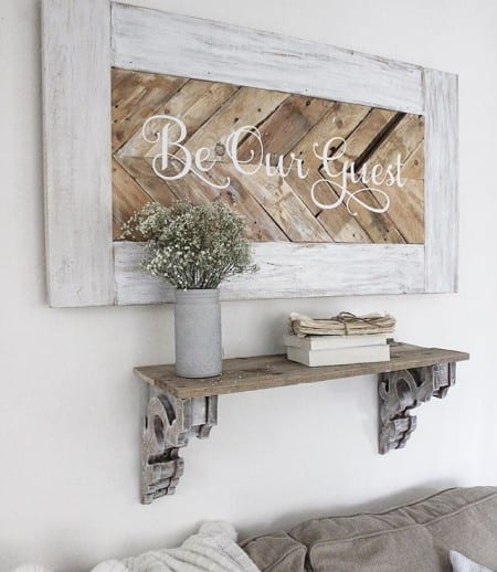 Rustic Wooden Herringbone Sign With Vinyl Decal, Rustic Shelf With Vintage Corbels, Image Source Unknown