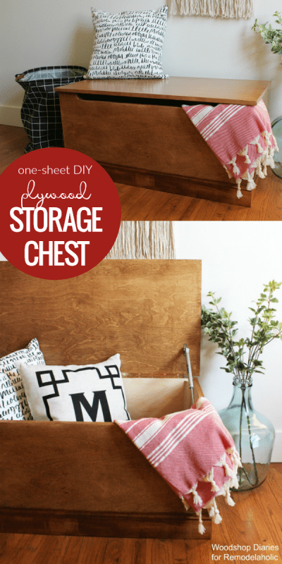 Simple Diy Wooden Storage Chest Building Plan And Tutorial From One Sheet Of Plywood #remodelaholic