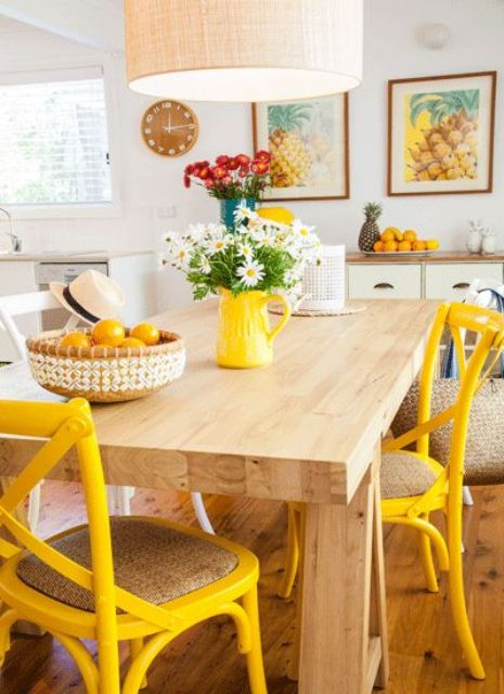 Coastal Yellow Kitchen via Australian Country Magazine | Yellow Kitchen Inspiration #Remodelaholic
