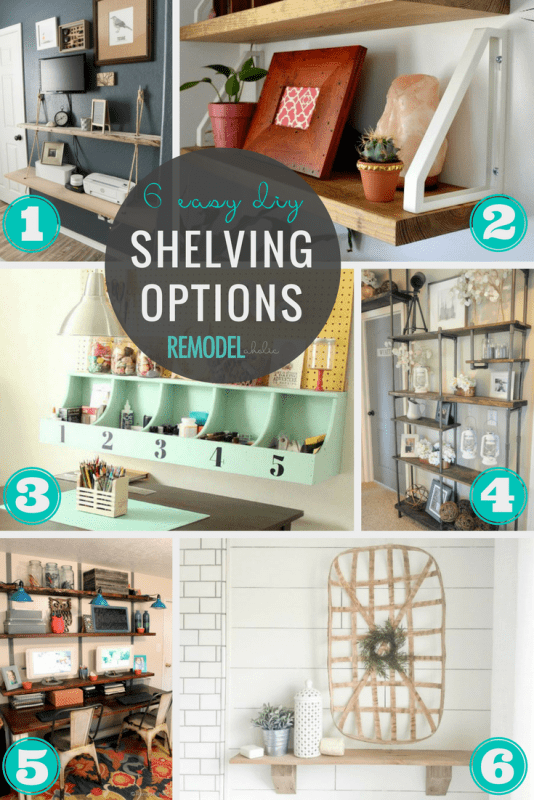 Easy DIY shelving ideas to add wall storage to a home office, bedroom, kitchen, or living room. #remodelaholic