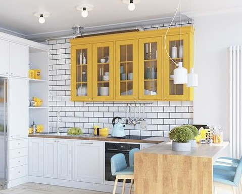 Modern white and yellow kitchen via Home Designing | How to decorate with yellow and Yellow Kitchen Inspiration #Remodelaholic