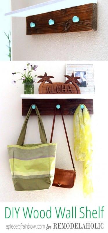DIY Wood Wall Hanging Shelf ApieceofRainbowblog