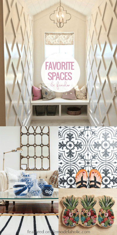 Friday Favorites, Lattice Wall Treatment, Floral Pineapple Doormat, Painted Vinyl Floor #remodelaholic