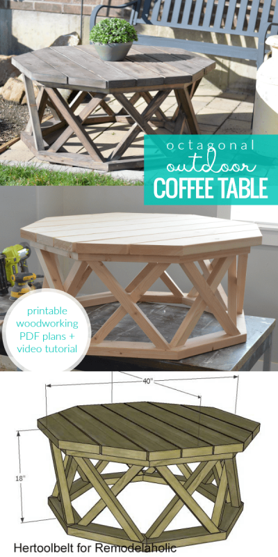 Build A Wood Octagon Outdoor Coffee Table With Lattice X Legs, Hertoolbelt For Remodelaholic