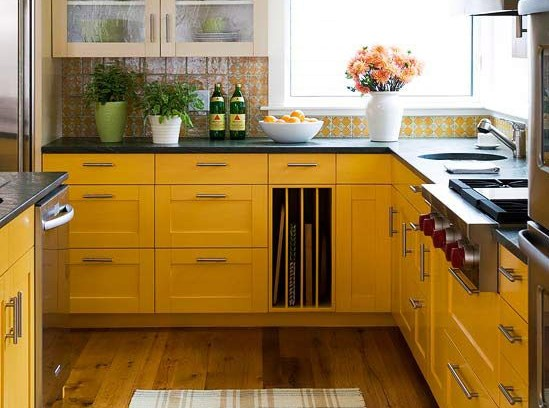 Modern Yellow Kitchen Cabinets via BHG | Yellow Kitchen Inspiration #Remodelaholic