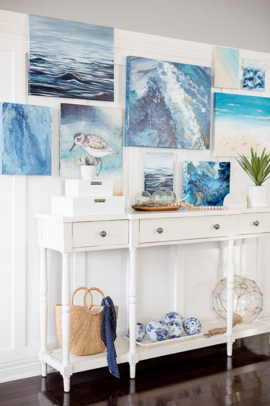 Coastal Painting Gallery Wall On Canvases, Craftberry Bush