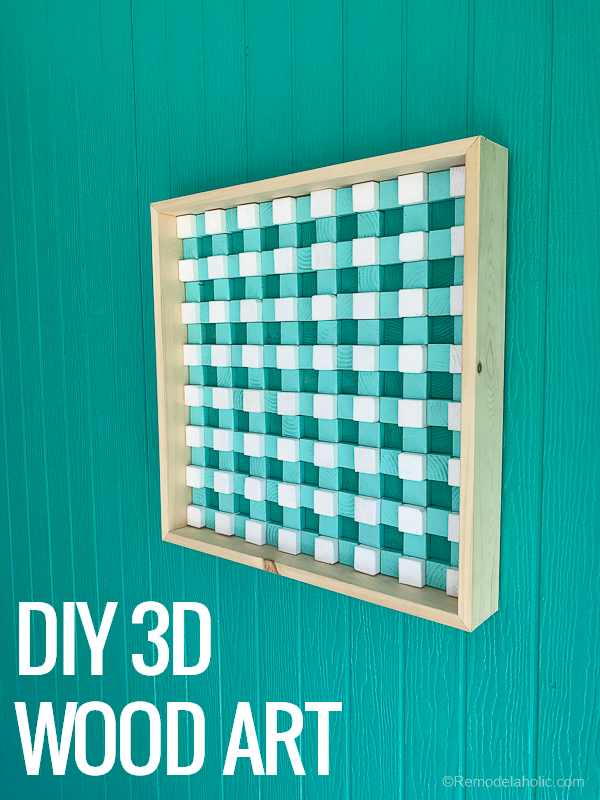 Colorful DIY 3D Wood Art | This colorful summery buffalo check textured wood wall art will brighten up any space! Customize the colors to fit your space. DIY tutorial from #remodelaholic