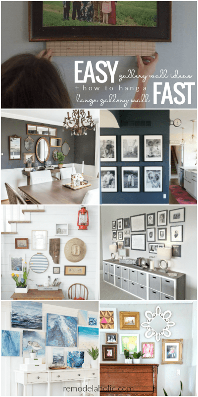Easy Beautiful Gallery Wall Ideas Plus The Easy Way To Hang A Large Gallery Wall Fast #remodelaholic