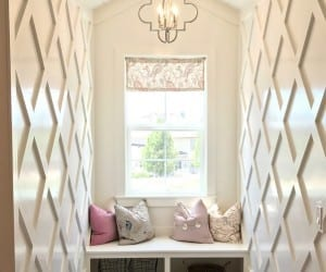 Hallway Nook With Bench And Lattice Wall Treatment, Millhaven Homes