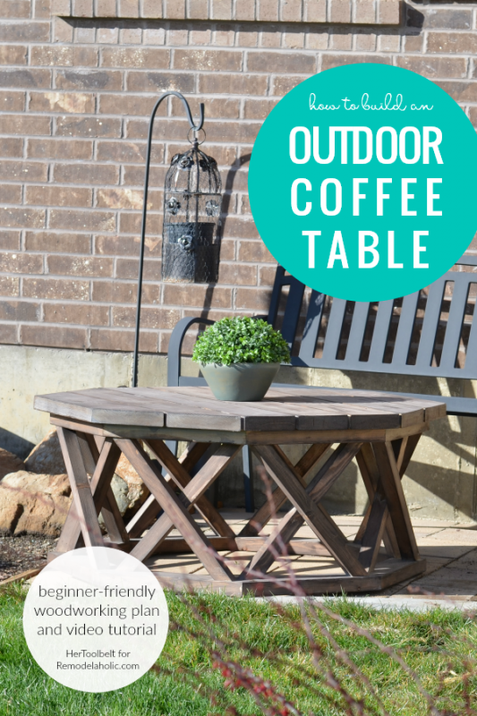 How To Build An Octagon Outdoor Coffee Table, Beginner Woodworking Plan HerToolbelt For Remodelaholic