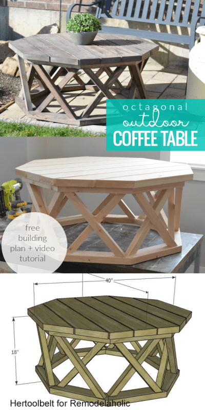 Build a rustic wood octagon coffee table for indoor or outdoor entertaining | Uses affordable and easy-to-find 2x lumber | Easy to build coffee table featuring lattice X base legs | Free building plan from Hertoolbelt on #Remodelaholic