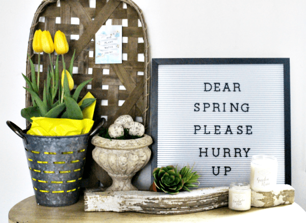 Spring Farmhouse Vignette, Our Crafty Mom