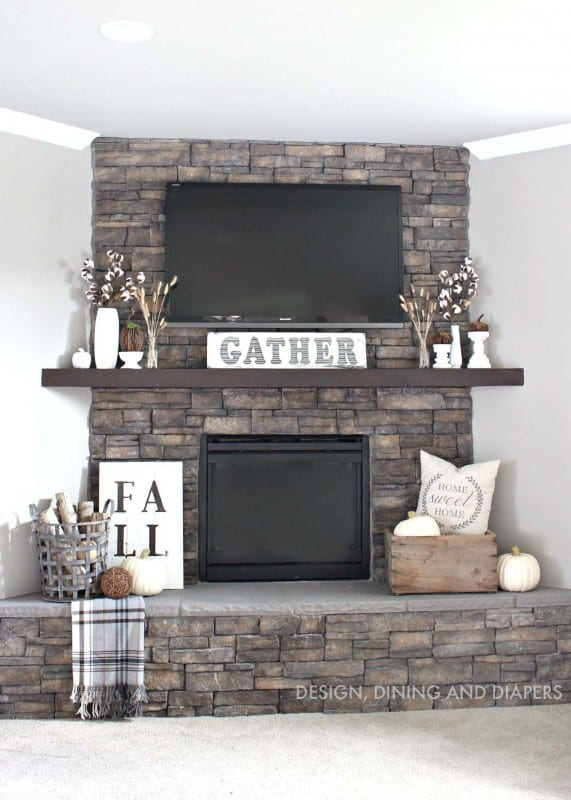 Ideas For Decorating Around A Tv Over The Fireplace Mantel Stone And Decor