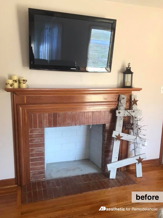Before: How to decorate around a TV over a fireplace mantel #remodelaholic