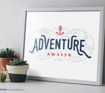 Free Printable Graphic Adventure Awaits AD Aesthetic For Remodelaholic • Horizontal