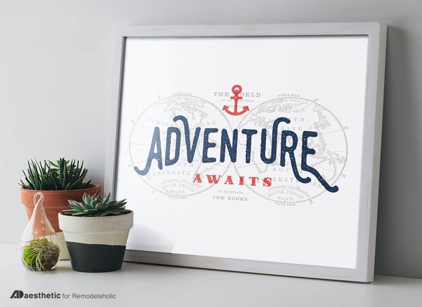Free Printable Graphic Adventure Awaits AD Aesthetic For Remodelaholic • Horizontal