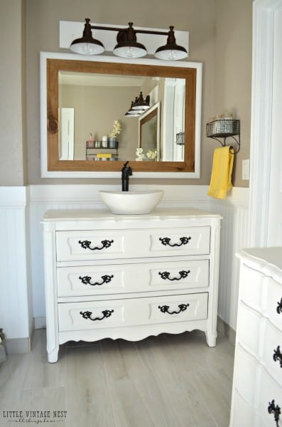 Old Dresser Turned Bathroom Vanity 24