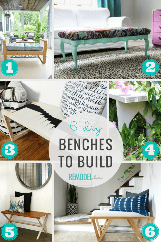 6 Easy DIY Benches To Build for an Indoor or Outdoor Dining Space, Entryway, or Bedroom #remodelaholic