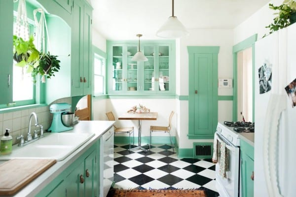 painting kitchen cabinet white in the green wall | Remodelaholic | 7 Unexpected Ways to Decorate with Jade Green