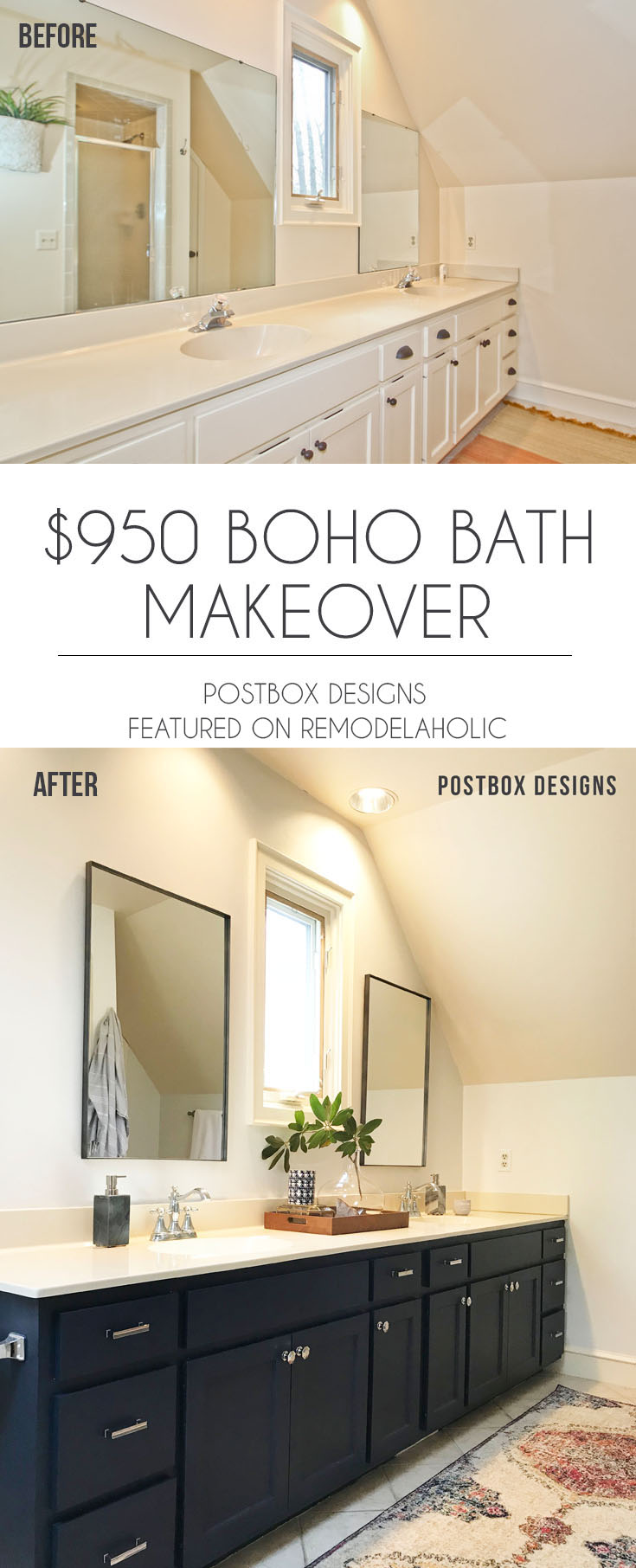 $950 Budget Bathroom Makeover | Update a large master bathroom on a budget with these affordable product sources, budget-friendly tips and DIY projects #remodelaholic