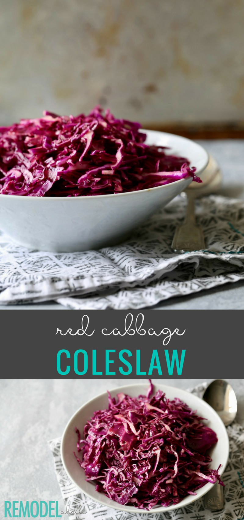 A perfect side dish to add some veggies! Try this Red Cabbage Coleslaw recipe at remodelaholic.com #recipes #sidedishes #coleslaw