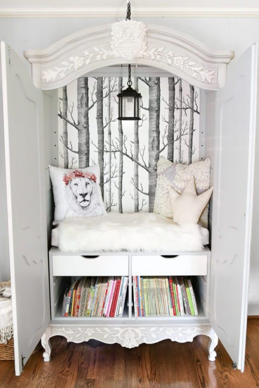 Armoire Turned Narnia Reading Nook Blesser House