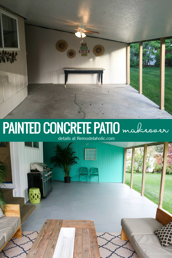 Covered Patio Makeover With Painted Concrete Slab | Your old, cracked concrete slab can look like NEW again! Learn how to paint a concrete patio, from prepping and filling cracks to painting with epoxy floor paint. #remodelaholic