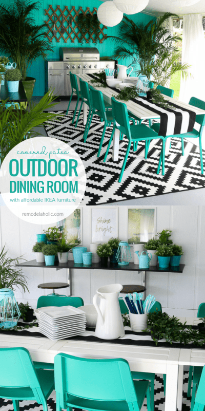 These budget-friendly DIY projects and IKEA furniture picks made our covered patio into a bold and vibrant outdoor dining space for our family, perfect for summer barbecues and outdoor living. #remodelaholic