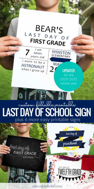 Custom Fillable Printable Last Day Of School Sign Infographic Stats And More Remodelaholic