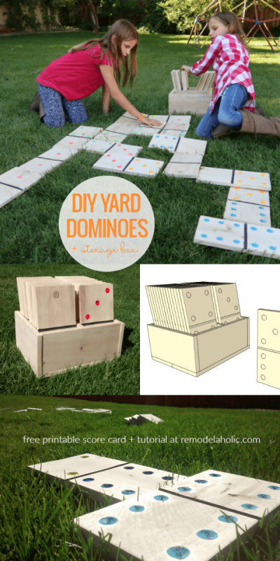 DIY Yard Dominoes From Scrap Pallet Wood, With Free Printable Score Card And Domino Games | How to make DIY yard dominoes three ways! This full video tutorial and free printable domino scorecard also includes instructions for four different domino games for the whole family. #remodelaholic
