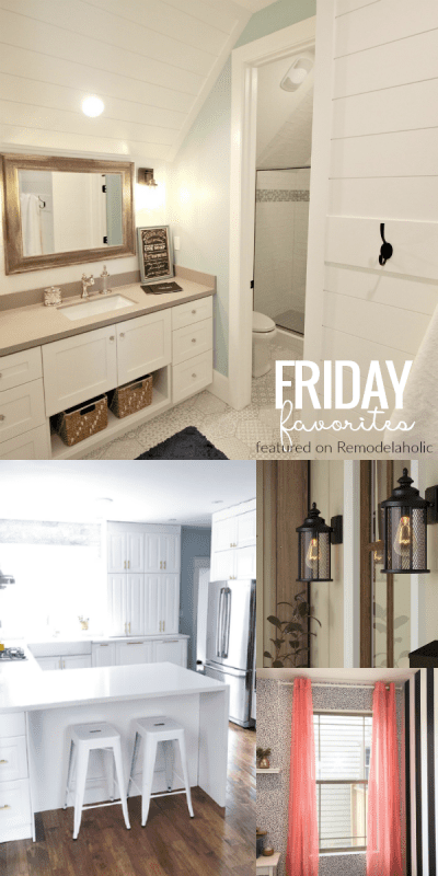 Friday Favorites: outdoor ideas, beautiful bathrooms and kitchen, affordable DIY storage ideas #remodelaholic
