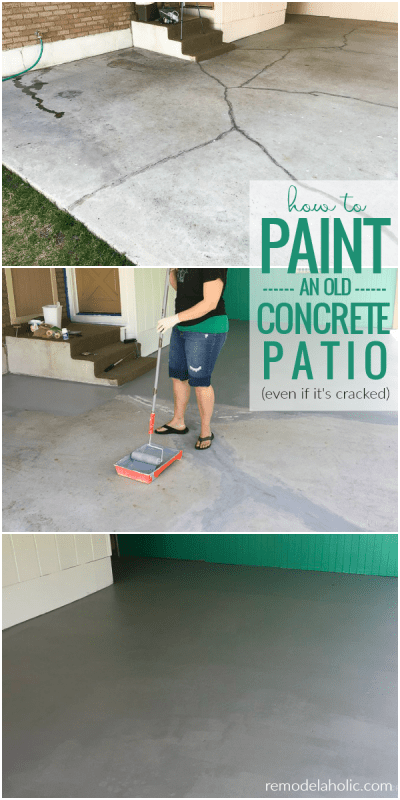 How To Paint A Concrete Patio Even If It's Old And Cracked | Your old, cracked concrete slab can look like NEW again! Learn how to paint a concrete patio, from prepping and filling cracks to painting with epoxy floor paint. #remodelaholic