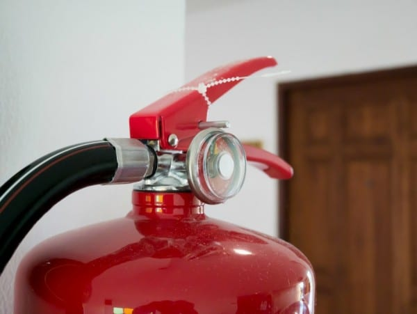 Fire Extinguisher In Modern Hotel Building