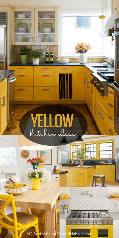 Love yellow kitchens? Get inspired by these beautiful yellow kitchen spaces plus tips for making yellow work in your home and for your style. | Yellow Kitchen Ideas Tips Inspiration Decorating #remodelaholic