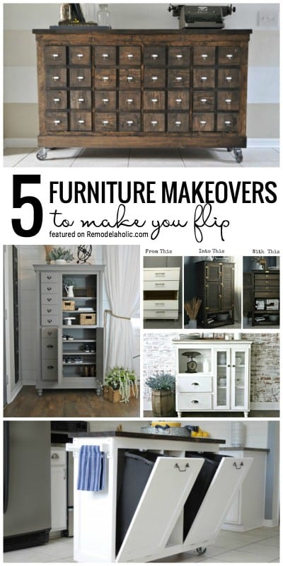 Check Out These 5 Fabulous Furniture Makeovers To Make You Flip Featured On Remodelaholic.com