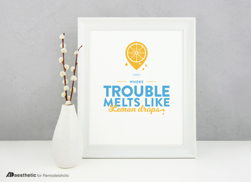 "Channel The Wizard of Oz's ""somewhere over the rainbow"" with this cheery yellow and blue ""where trouble melts like lemon drops"" printable for your home decor.  Perfect for a nursery or family room, or for a feature in a gallery wall. #remodelaholic #freeprintableartcollection"