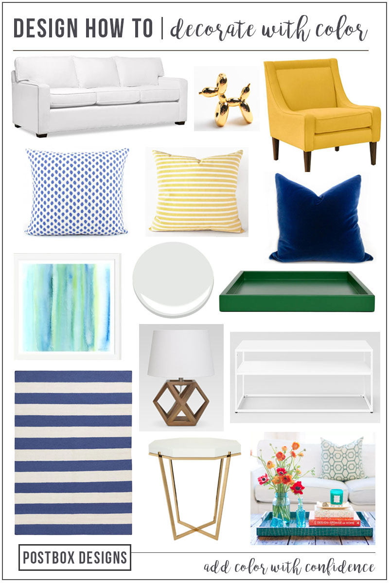 Decorating with Color: You Can Do This! | Add style and interest to any room in your home with these six tips to confidently decorate with color. Includes inspiration and a design mood board with product sources for a colorful living room. #remodelaholic