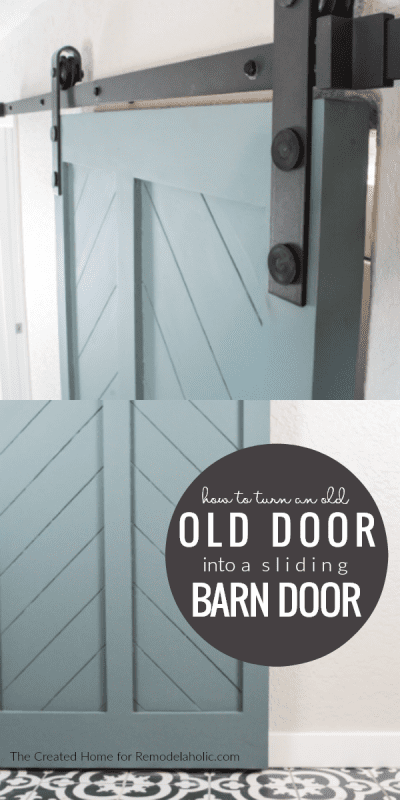 How To Turn An Old Interior Door Into A DIY Barn Door Tutorial #remodelaholic