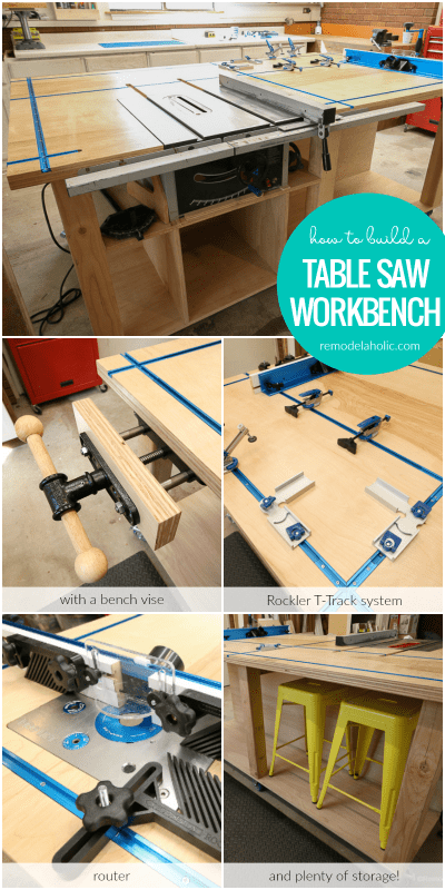 Build A Table Saw Workbench With A Bench Vise, Rockler T Track System, Router Table, And Plenty Of Storage! Free Building Plan #remodelaholic