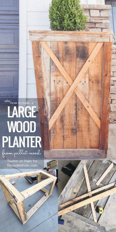 How To Make A Large Pallet Wood Planter Tutorial #remodelaholic