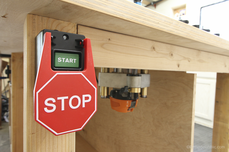 XL Router Stop Button for Safety | DIY Router Table and Table Saw Workbench Building Plan #remodelaholic