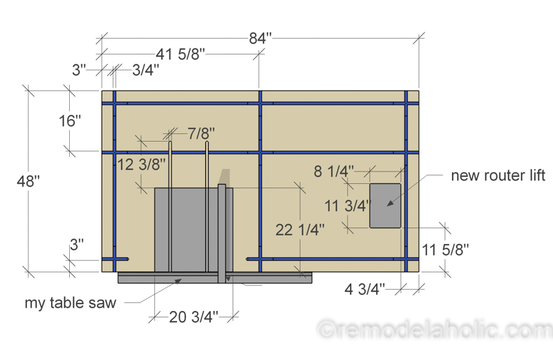 Top View, DIY Router Table and Table Saw Workbench Building Plan | Free Printable Building Plans #remodelaholic