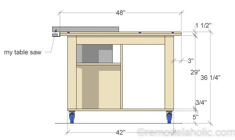 Side View, DIY Router Table and Table Saw Workbench Building Plan | Free Printable Building Plans #remodelaholic