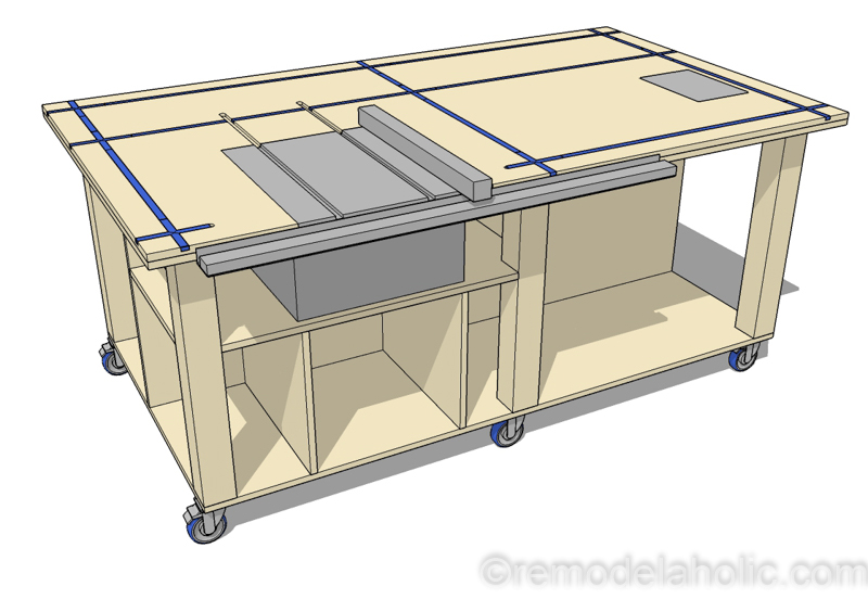 DIY Router Table and Table Saw Workbench Woodworking Plans #remodelaholic