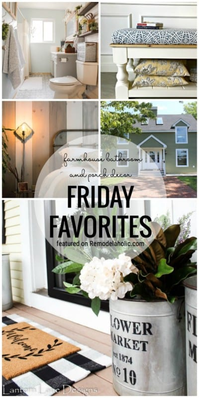 Adorable Guest Farmhouse Bathroom, Lovely Porch Decor And So Much More Featured On Friday Favorites At Remodelaholic.com