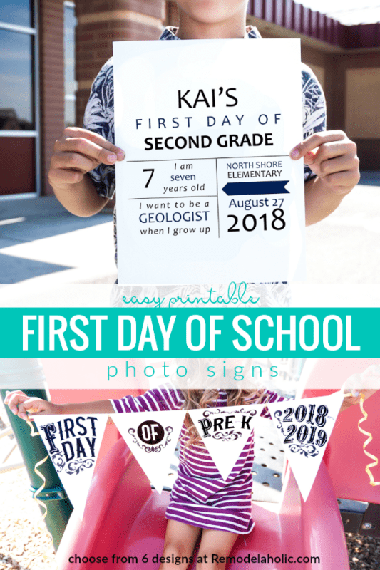 Easy Printable First Day Of School Signs For Photos #remodelaholic