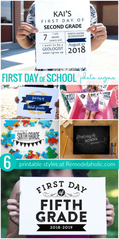 Printable First Day Of School Photo Signs, 6 Styles #remodelaholic