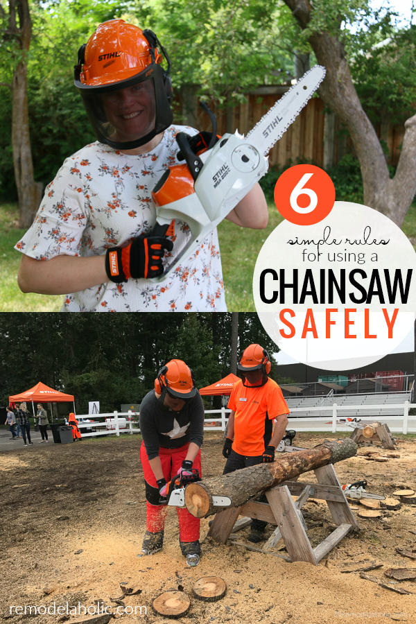 6 Must Follow Rules For Chainsaw Safety | Whether you're using a chainsaw for yardwork, DIY, or carving, following these simple guidelines for using a chainsaw safely will help your project finish without a problem. #remodelaholic