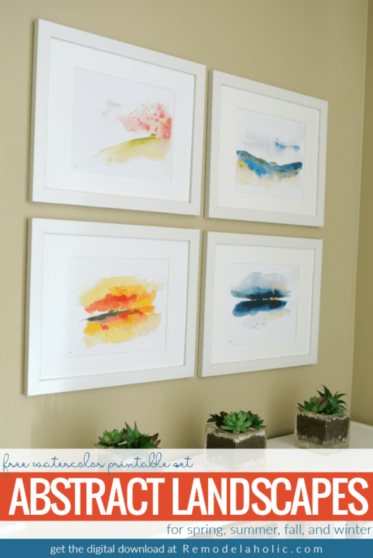 Remodelaholic Printable Abstract Watercolor Landscape Set Easy Magnificent A Frame Remodel Set