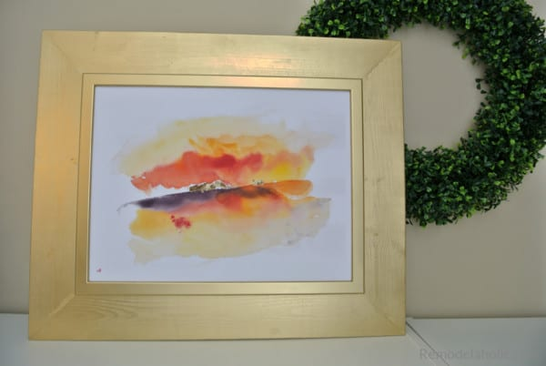 Diy Gold IKEA Hack Frame With Printable Autumn Seasonal Abstract Watercolor For Fall #remodelaholic